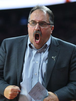 Pistons coach Stan Van Gundy reacts during the first quarter of the Pistons' 97-83 loss Wednesday at the Palace.