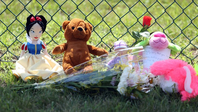 Stuffed animals left at a memorial at Pequannock Valley Park. The park was closed today after a 3-year-old drowned Monday afternoon in the parks Woodland Lake. July 12, 2016, Pequannock, NJ