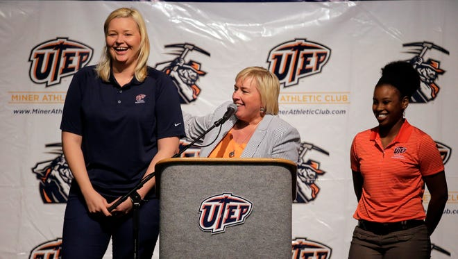 UTEP coach Keitha Adams and assistant coach Kelli Willingham (r) and graduate assistant Izabela Piekarska will lead the women's team during an exhibition game on Saturday.