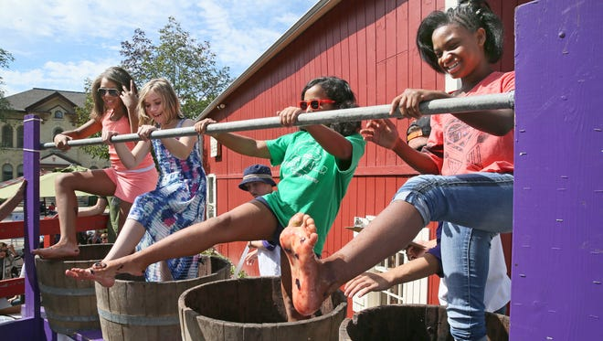 At Cedar Creek Settlement's Wine & Harvest Festival in 2015 are Patricia Wright (from left), 11, of Milwaukee, Audrey Kremkau, 8, of New Berlin, Alexa Crump, 8, of Wauwatosa and Sade Moore-Beamon, 11 of Milwaukee.  They were partaking in the grape stomp.