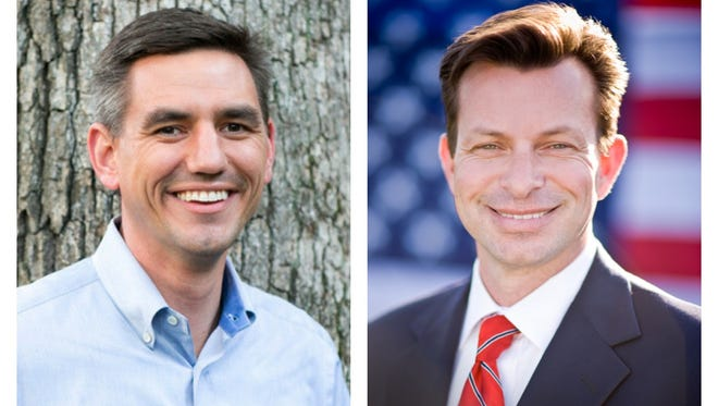 At left is Democratic House candidate Brian Turner with incumbent Republican Rep. Tim  Moffitt on the right.