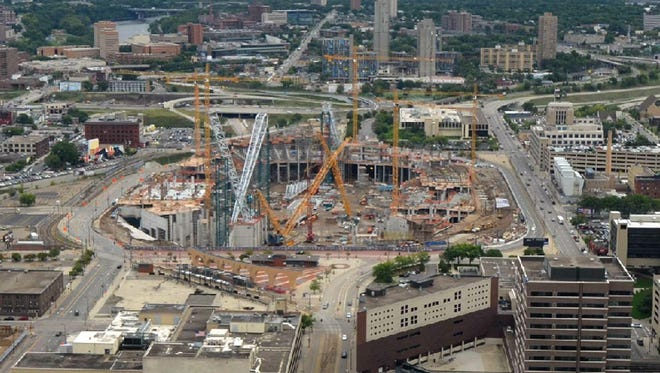 This image from the construction cam shows the Vikings stadium under construction in downtown Minneapolis on Wednesday.