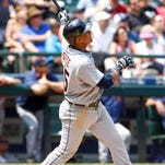 Detroit Tigers first baseman Jefry Marte (55) hits a solo home run against the Seattle Mariners during the fourth inning at Safeco Field.