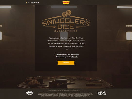 """Fans can try their hand at """"Smuggler's Dice"""" on Dennys.com"""