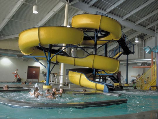 The Indy Island Aquatic Center indoor water park features a 15-foot slide, a shallow leisure pool and a water playhouse.