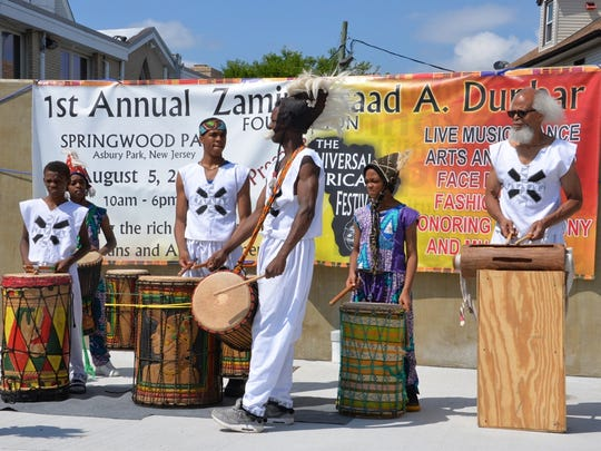 Drummers from the Universal African Dance Ensemble perform.