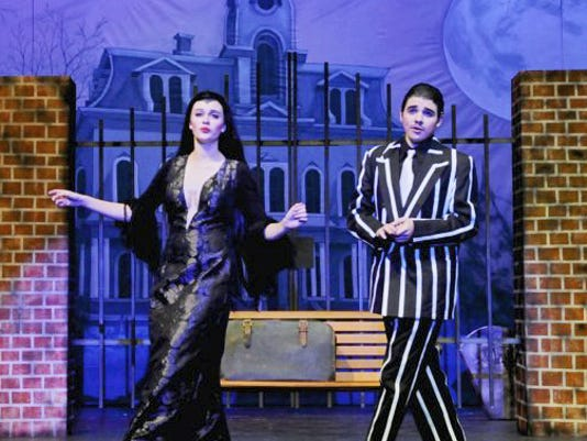 """Morgan Rutter, left, and Kellen Beck star in the Central York High School production of """"The Addams Family."""" Hundreds of students from schools across York County will perform scenes from their spring musicals at the Encore competition Sunday at the high school."""