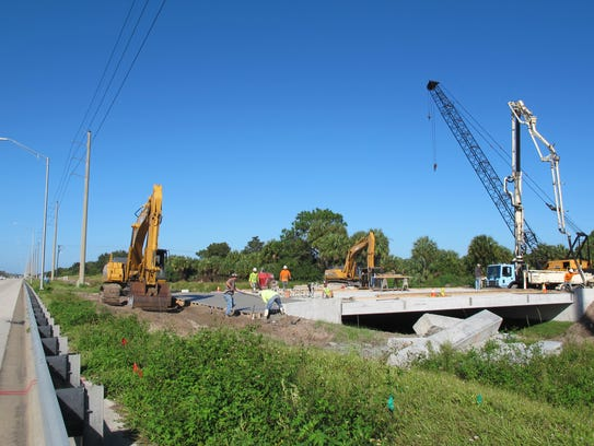 The bridge under construction over the Cocohatchee