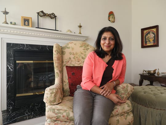Nalini Rau of Yorktown became active after the 2016 election. She has three grown children and runs a dance school. Here she is at her home.