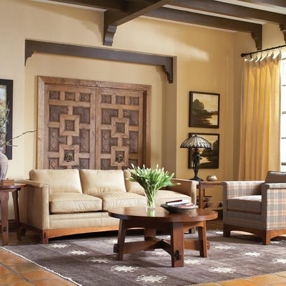 Stickley Furniture's Park Ridge sofa anchors this living space.