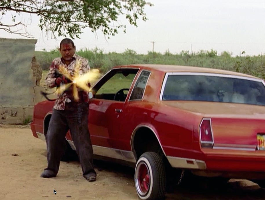 "'Grilled' (Season 2, episode 3) |  Scene: Hank (Dean Norris) and Tuco (Raymond Cruz) are engaged in a heavy gun battle around Jesse's car, whose hydraulic jacks give out under a hail of gunfire. ""Raymond was going to be our villain throughout Season 2, but he got a job on 'The Closer,' "" Gilligan says. ""So we had to send him out in a big way."""