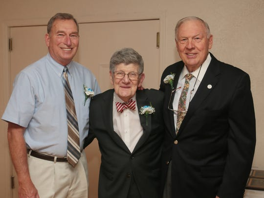 Metuchen High School's Inaugural Hall of Fame Induction ceremony at The Gran Centurions in Clark on May 22, 2016. Honorees, from left, John R. Novak, Distinguished Faculty, Donald Wernik, Class of 1943, and Joe Prehodka, Class of 1959.