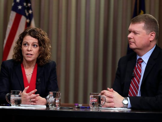 Wisconsin Supreme Court candidates Rebecca Dallet and Michael Screnock debate Friday, March 2, 2018, in Milwaukee.