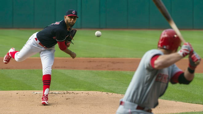 Cleveland Indians starter Danny Salazar delivers to the Cincinnati Reds' Zack Cozart during the first inning of a baseball game in Cleveland, Tuesday, May 17, 2016.