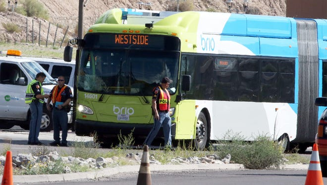 El Paso police investigate a bus-pedestrian collision Wednesday afternoon along the 4600 block of North Mesa Street. The 34-year-old man, who police said jumped in front of the bus, died Thursday morning from his injuries.