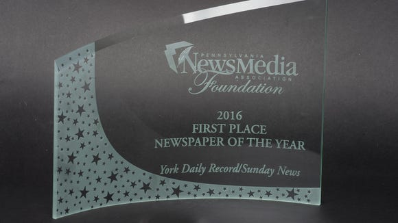 The York Daily Record/Sunday News won the Pennsylvania News Media Foundation's 2016 Newspaper of the Year. The Pittsburgh Post-Gazette and the Reading Eagle tied for second in this annual competition.