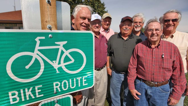 Some of the volunteers who built the bike trail in Lamoni.