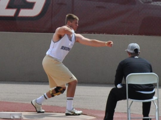 """Jake Harrelson finished in third place in the discus with a 44' 2.25"""" throw."""