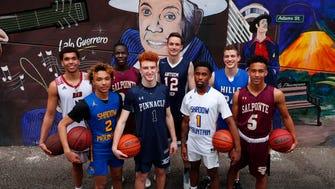 The eight nominees for Arizona High School Boys Basketball Player of the Year 2017-18: Red Mountain's Timmy Allen, Shadow Mountain's Jaelen House, Salpointe's Majok Deng, Pinnacle's Nico Mannion, Anthem Prep's Trey Wood, Shadow Mountain's Jovan Blacksher, Catalina Foothills' Sam Beskind, Salpointe's Evan Nelson.