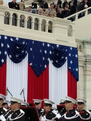At the balcony overlooking the Marine Band during the inauguration on Jan. 20 are New Jersey's U.S. Reps. Frank LoBiondo and Rodney Frelinghuysen.