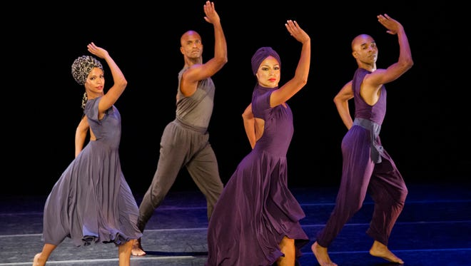 """Alvin Ailey American Dance Theater's B. Pereyra, G. Sims, L. Sims, and M. Rushing in Ronald K. Brown's """"Four Corners."""""""