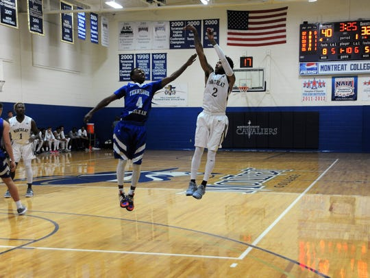 Senior Jalen White hoists a three-pointer during a 114-78 Jan. 10 win at home over Tennessee Wesleyan University.