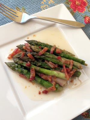 Hot bacon dressing works equally well on asparagus as it does on fresh spinach.