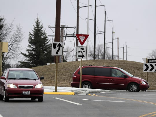 The roundabout at Outagamie County Road CE and Outagamie County County Road HH in Buchanan on Monday.