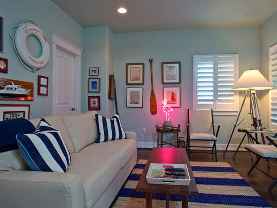 "A cool nautical themed living space called ""The St."