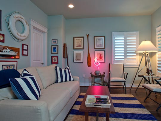 """A cool nautical themed living space called """"The St."""