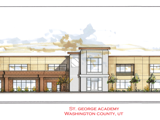 A rendering of the exterior of the St. George Academy