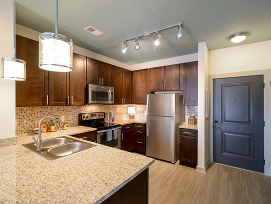 A kitchen at Duet 31 apartments.