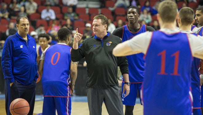 Kansas' Bill Self coaches his team during Wednesday's open practice at Wells Fargo Arena in Des Moines.