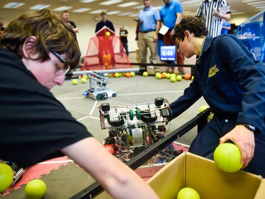 Students from all around Marion gathered at the MetaSolutions building on Monday to compete against each other in the Vex Robotics competition.