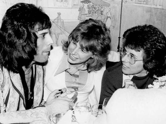 Cindy Bullens  with Freddie Mercury of Queen, left, and tennis great Billie Jean King in 1975 after an Elton John show in Los Angeles.