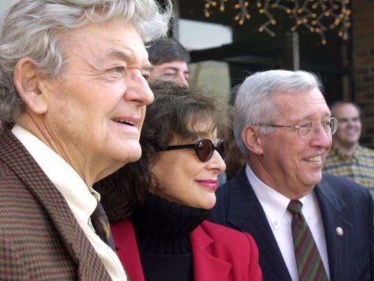 Hal Holbrook, Dixie Carter and Governor Don Sundquist listen to the Huntingdon High School chorus perform before Carter accepted a million-dollar grant from the Governor that will help found the Dixie Carter Performing Arts and Academic Enrichment Center in Huntingdon in this 2002 file photo.