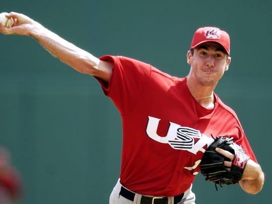 ** FILE ** U.S. pitcher Justin Verlander works against