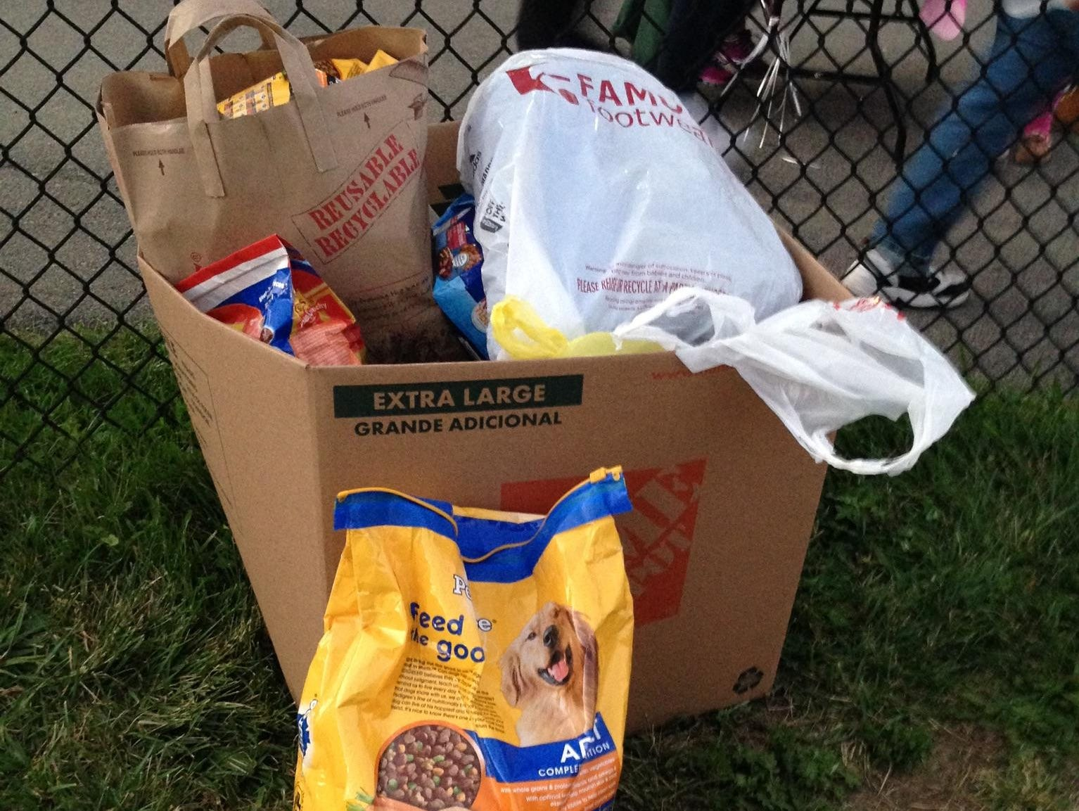 Some of the goods that were collected during Friday's Ketcham-Yorktown field hockey game that will go to the SPCA of Westchester