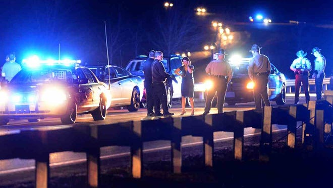 A traffic stop that resulted in shots fired closed Interstate 26 in Kingsport on Thursday night, Jan. 12, 2017.