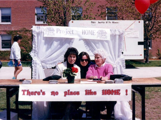 """Undated photo shows Project Home booth at a University of Vermont event. From left: then Project Home Assistant Director Gail Feitelberg, then Project Home Director and South Burlington State Rep. Helen Head, then staff volunteer Dorothy """"Dot"""" Black."""