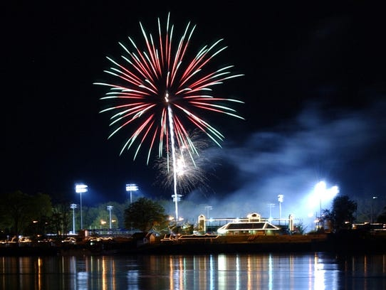 Fireworks are set off over Harrisburg's City Island.