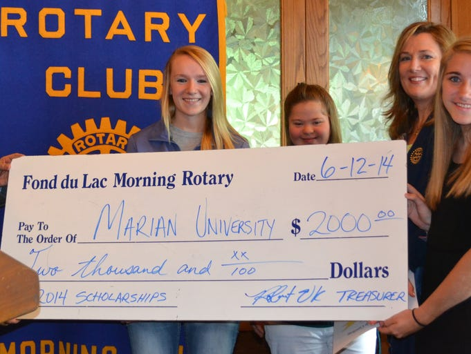 Morning Rotary awards scholarships Fond du Lac Morning Rotary Club recently awarded local high school graduates with $1,000 scholarships. The recipients include Ashley Benzing, right, from Cambellsport High School and Danielle Lietz, center, from Laconia High School. From left: Jeff Reed, FDL Rotary chair; Lietz with her sister Heather; Rhonda Bird-Roehrig, FDL Rotary president; and Benzing. Both graduates will attend Marian University in the fall. SUBMITTED PHOTO