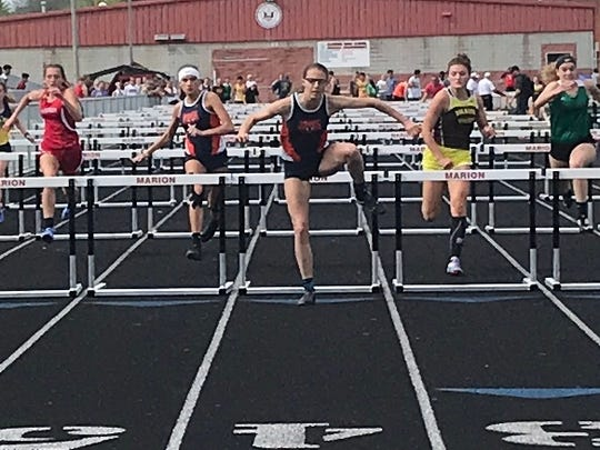 Galion sophomore Kerrigan Myers wins the 100 hurdles in the Mid-Ohio Athletic Conference track meet.