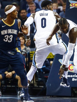 Grizzlies forward JaMychal Green twisted his ankle during the first quarter Wednesday night against the New Orleans Pelicans.