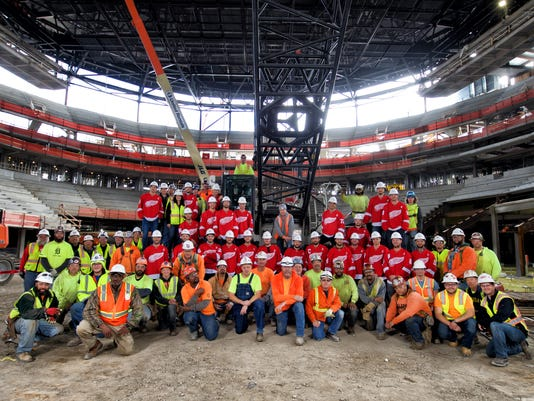 Red Wings visit construction site of Little Caesars Arena