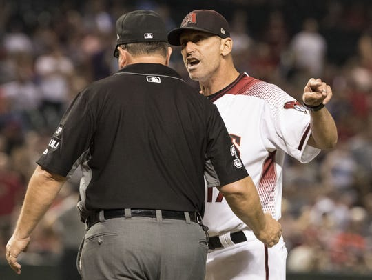 Diamondbacks manager Torey Lovullo yells at Sam Holbrook