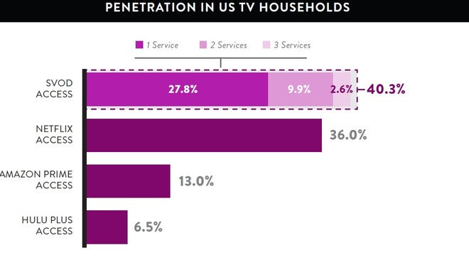A graphic from Nielsen showing the most popular streaming video on demand services.