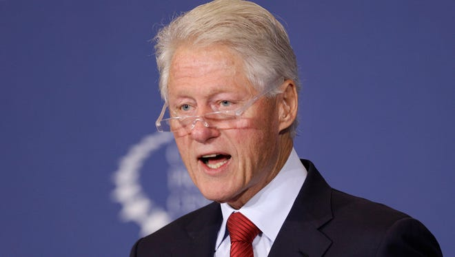 Former president Bill Clinton speaks about health care at the Clinton Presidential Center in Little Rock.