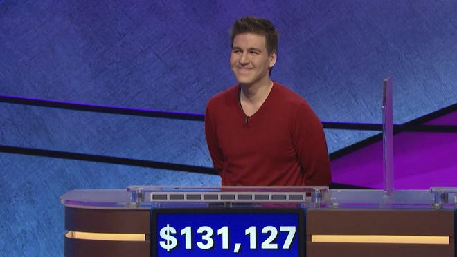 """""""Jeopardy!"""" contestant James Holzhauer on an episode that aired on April 17, 2019. On his 14th appearance Tuesday, Holzhauer eclipsed the $1 million mark in winnings."""