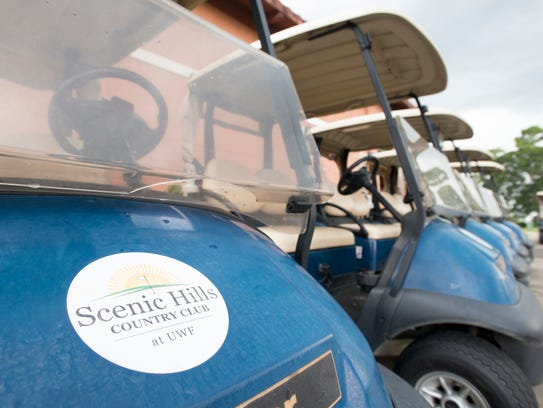Golf carts at the Scenic Hills Country Club at the